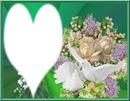 colombes et fleurs