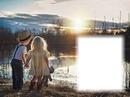 Enfants-coucher de soleil-nature