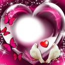 Coeur avec des colombes