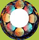 cadre rond boules de cristal -une photo
