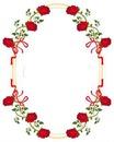 cadre ovale avec des roses rouge