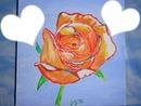 fleur rose couleur orange peint par Gino Gibilaro