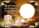 velas y paloma dorado