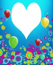 cadre multicolore anniversaire coeur