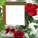 Cadre tasse et roses