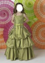 Gorgeous A-lien square neck floor-length tea green little girl birthday party dress by Little Girl Birthday Dresses