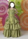 Gorgeous A-lien square neck floor-length tea green little girl birthday party dress by Little Girl Birthday Dresses