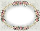 cadre ovale fleurs roses