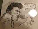 Elvis avec micro dessiné par Gino GIBILARO