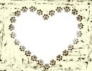 heart frame dog paw border black ceige