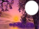 Paysage - fleuve - crépuscule mauve