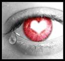 Oeil avec une larmes et un coeur