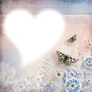 cadre coeur fleurie papillons
