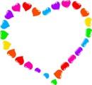 coração dividido arco iris