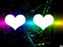 deux   coeur   avec  un  fond   muticlore