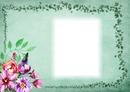 Cadre-fleurs-fond vert