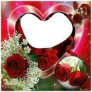 corazon rojo con rosas