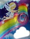 ange déroulant un arc en ciel
