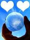 Boule de cristal deux coeurs -2 photos