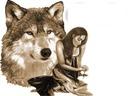 tete de loup avec une femme