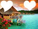 Coucher de soleil romantique a Bora Bora.