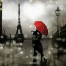 paris tour eiffel parapluie rouge