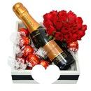 rosas com champagne