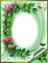 madár virág keret