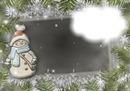 cadre bonhomme de neige sapin