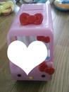 Auto rose hello kitty pour enfant 1 coeur