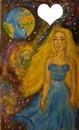 "Peinture imaginaire ""mère nature regardant sa création"" peint par Gino GIBILARO"