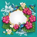 Cc corona de flores con colibríes