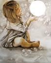 Petite fille et les bulles de savon
