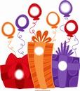 caixas de presentes com balões