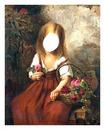 petite fille au panier fleuri
