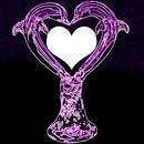 purple neon heart dolphins
