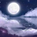 lune fond bleu
