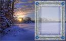 cadre coucher de soleil et neige