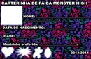 Carterinha de fã MH (Monster High)