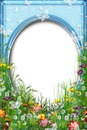 Cadre-jardin-fleurs-papillons