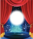 scène music-hall rideau rouge