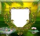 Cadre doré - lotus - palmier