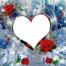 coeur et roses avec glaçons