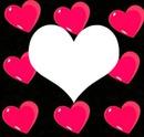 Un  cadre avec des coeur