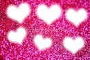 6 pink sparkle hearts