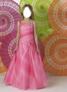Sweet A-lien strap neck floor-length light pink little girl birthday party dress
