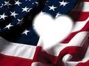 Coeur sur drapeau des États-Unis