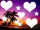 coucher de soleil avec coeur set étoiles