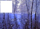 cadre bleu paysage hiver