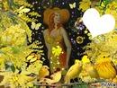 La femme chapeau peint Gino GIBILARO avec coeur et déco picmix(mimosas,oiseaux,papillons et feux artifices)